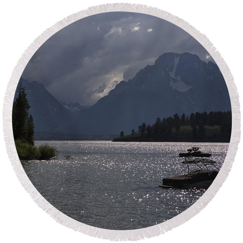 Lake Round Beach Towel featuring the photograph Boats On Jackson Lake - Grand Tetons by Belinda Greb