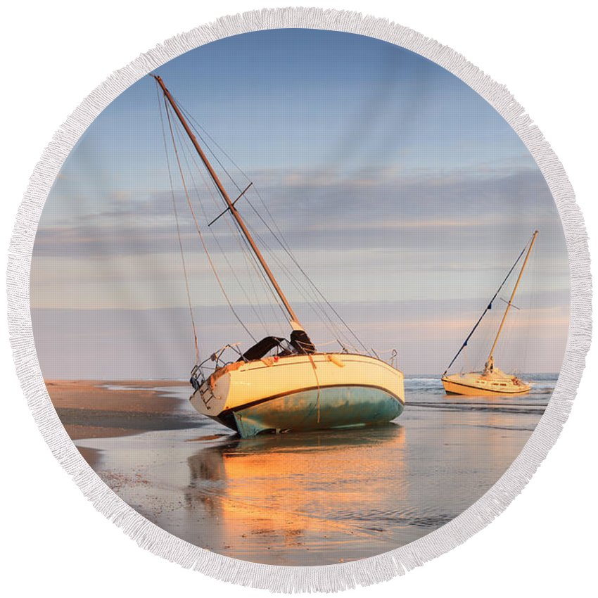 Boats Round Beach Towel featuring the photograph Accidentally - Boats On The Beach by Carol VanDyke