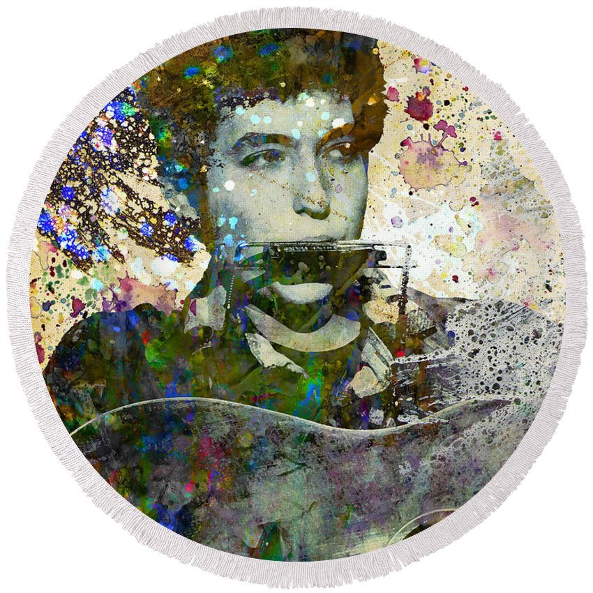 60s Round Beach Towel featuring the painting Bob Dylan Original Painting Print by Ryan Rock Artist