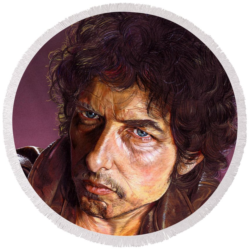 Bob Dylan Round Beach Towel featuring the painting Bob Dylan by Timothy Scoggins