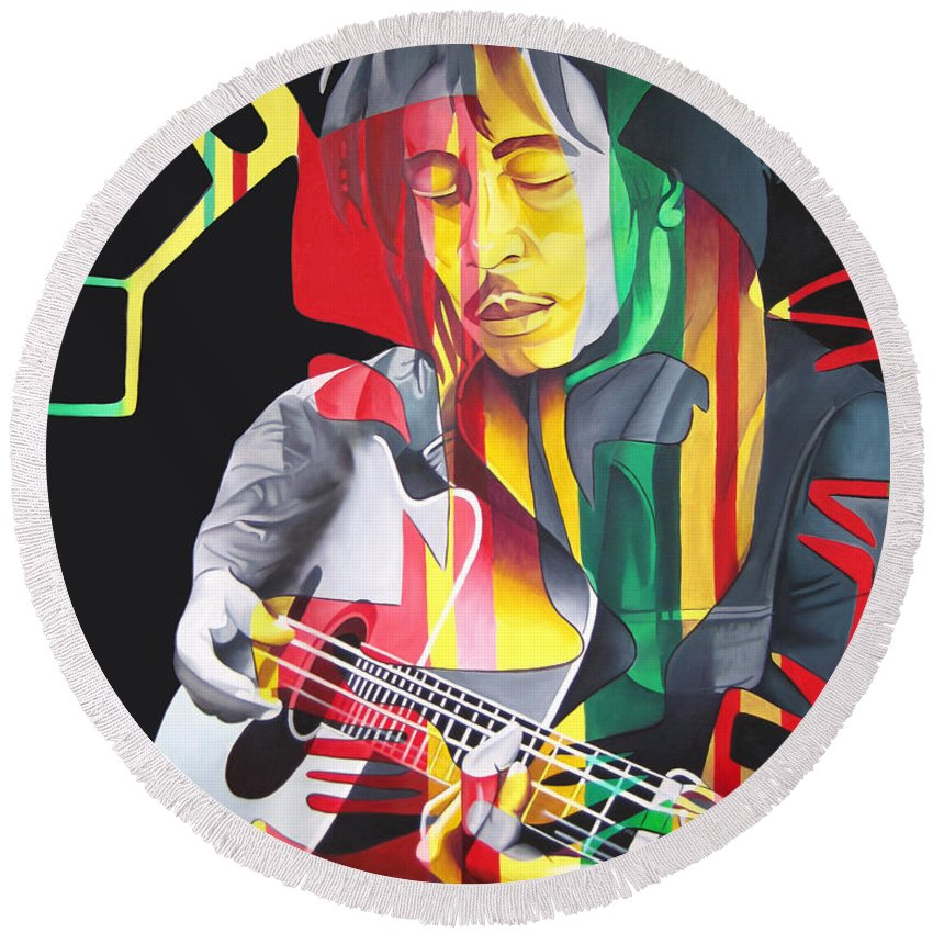 Bob Marley Round Beach Towel featuring the painting Bob Marley And Rasta Lion by Joshua Morton
