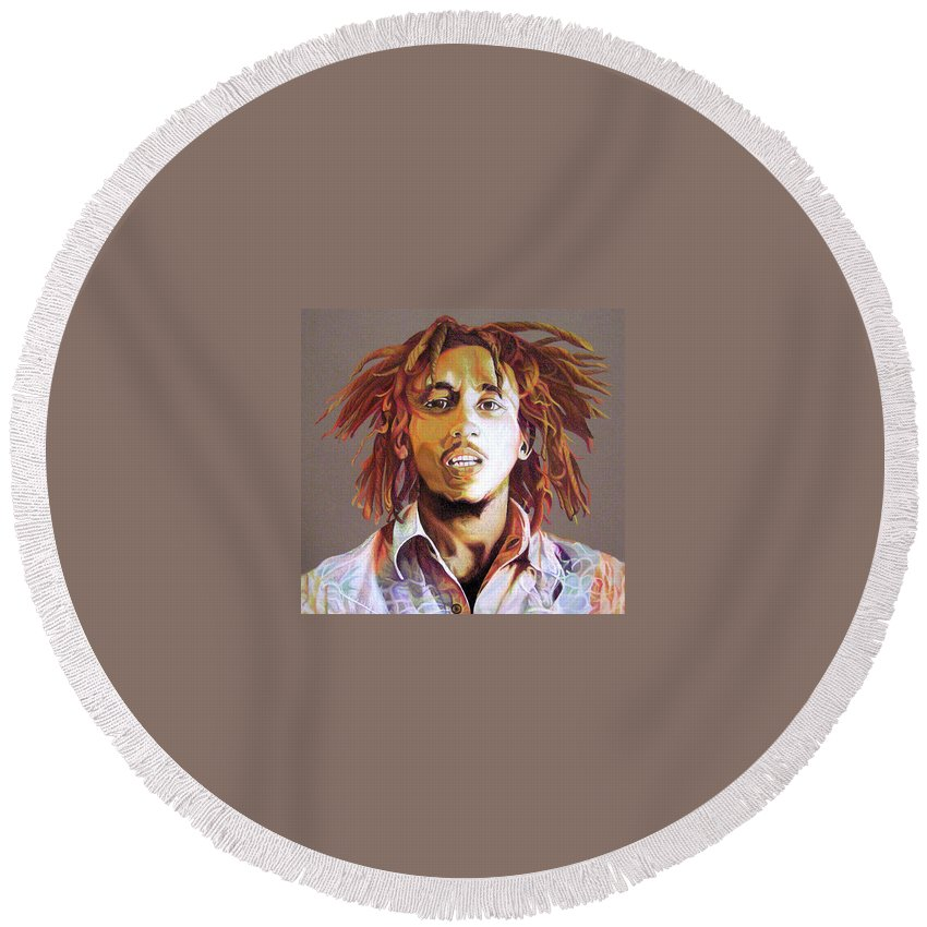 Bob Marley Round Beach Towel featuring the drawing Bob Marley Earth Tones by Joshua Morton