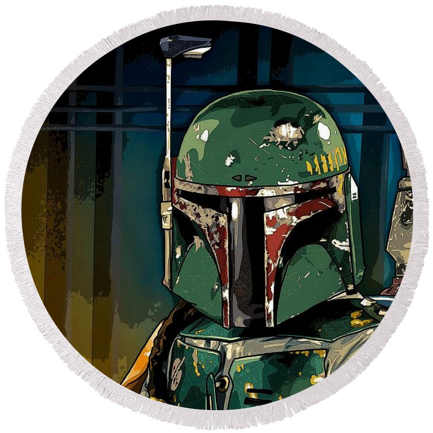 Star Wars Round Beach Towel featuring the photograph Boba Fett 2 by George Pedro
