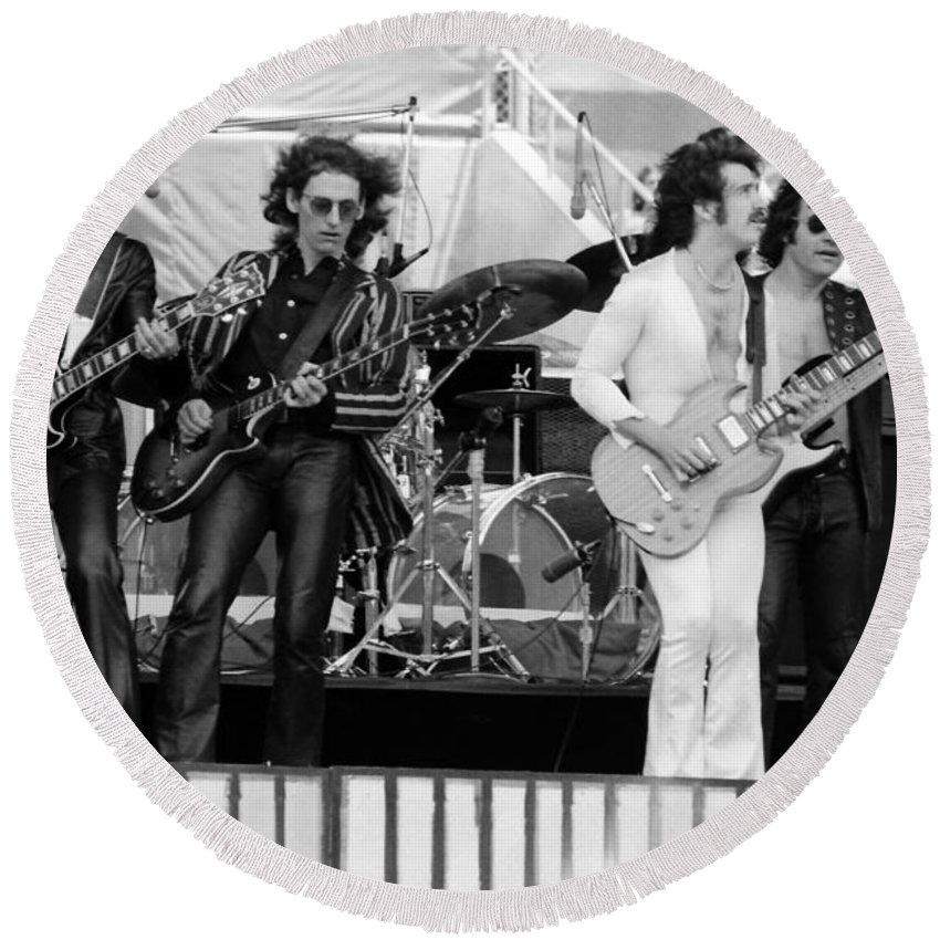 Blue Oyster Cult Round Beach Towel featuring the photograph Boc #101 by Ben Upham