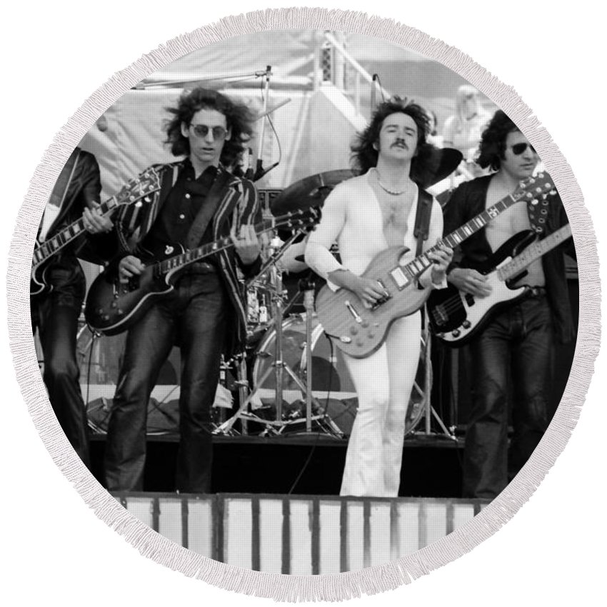 Blue Oyster Cult Round Beach Towel featuring the photograph Boc #102 by Ben Upham