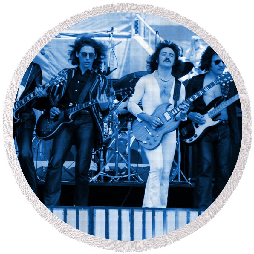 Blue Oyster Cult Round Beach Towel featuring the photograph Boc #102 In Blue by Ben Upham