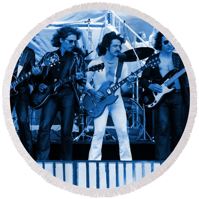 Blue Oyster Cult Round Beach Towel featuring the photograph Boc #103 In Blue by Ben Upham