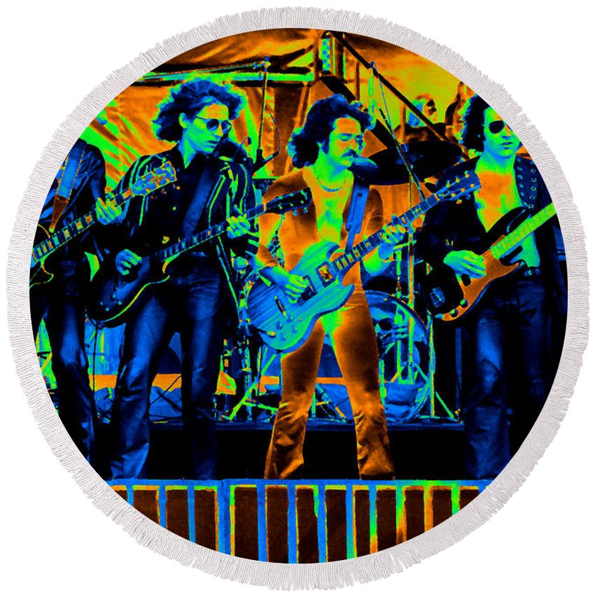 Blue Oyster Cult Round Beach Towel featuring the photograph Boc #103 In Cosmicolors by Ben Upham