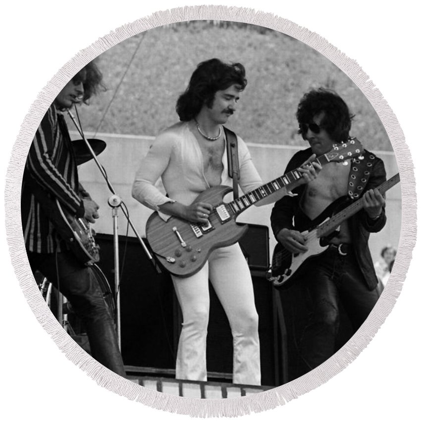 Blue Oyster Cult Round Beach Towel featuring the photograph Boc #21 by Ben Upham