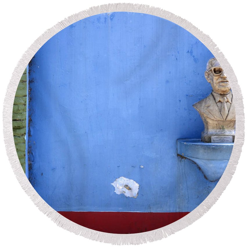 Blue Round Beach Towel featuring the photograph Boca District Buenos Aires 1 by Bob Christopher
