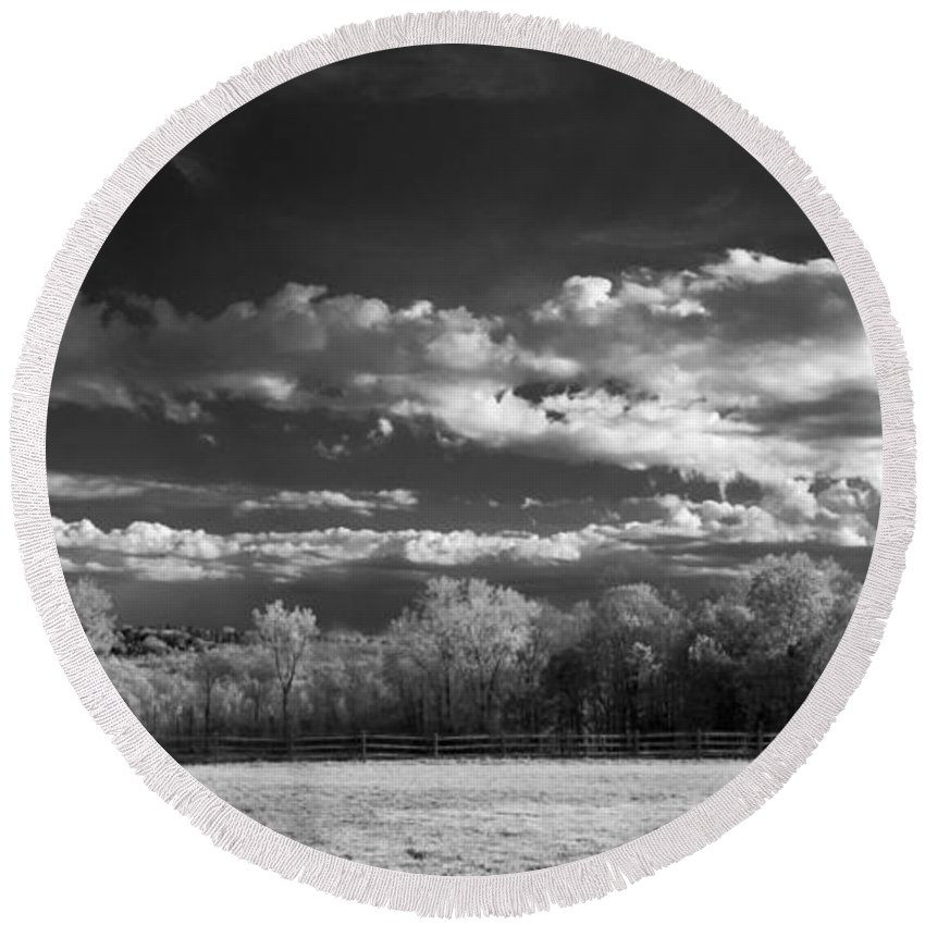 Clouds Round Beach Towel featuring the photograph Bode's Domain by Guy Whiteley