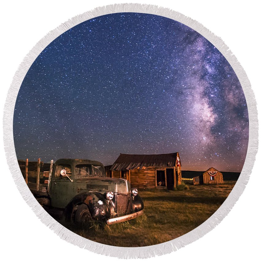 Night Round Beach Towel featuring the photograph Bodie Nights by Cat Connor