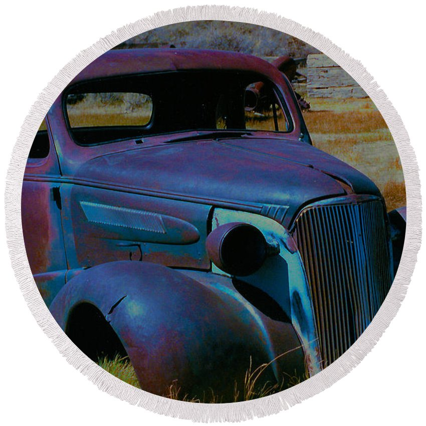 Barbara Snyder Round Beach Towel featuring the digital art Bodie Plymouth by Barbara Snyder