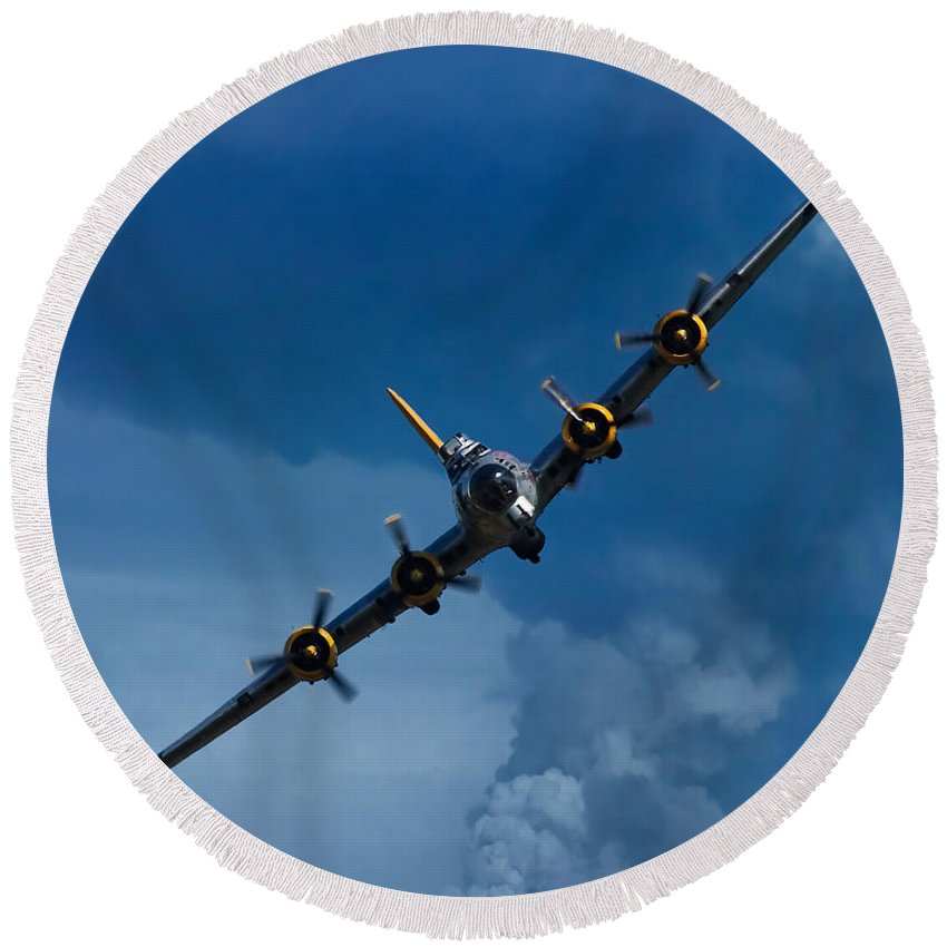 3scape Round Beach Towel featuring the photograph Boeing B-17 Flying Fortress by Adam Romanowicz
