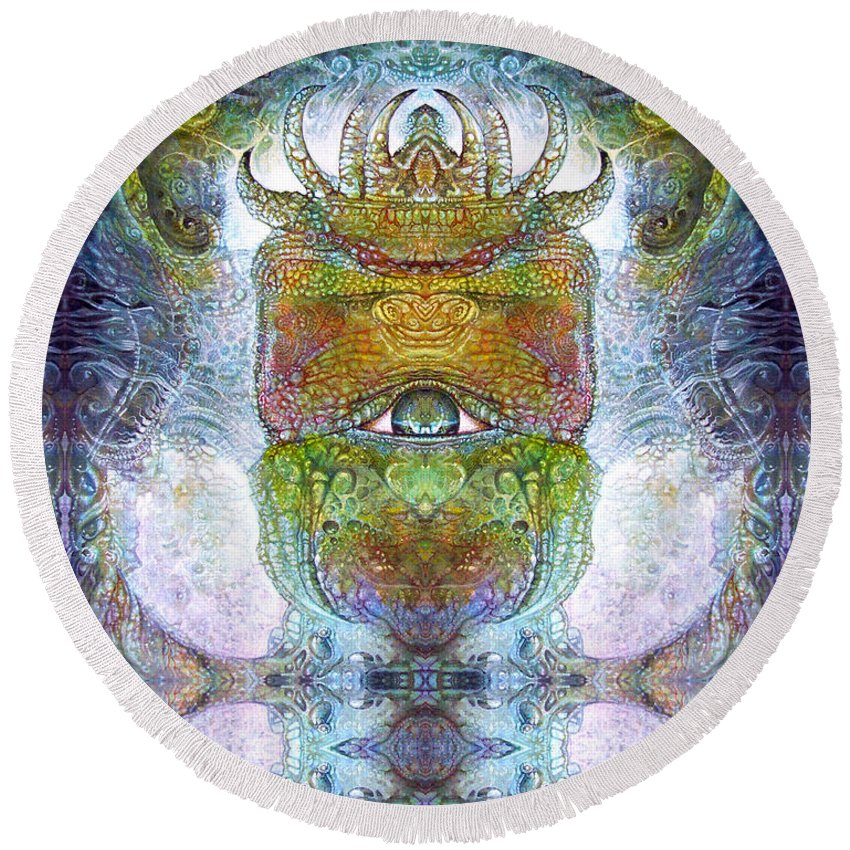 \bogomil Variations\ \otto Rapp\ \ Michael F Wolik\ Surrealism Round Beach Towel featuring the digital art Bogomil Variation 15 by Otto Rapp