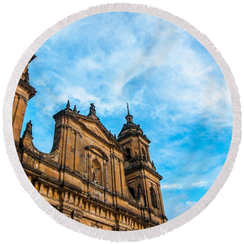 Cathedral Round Beach Towel featuring the photograph Bogota Cathedral Front by Jess Kraft