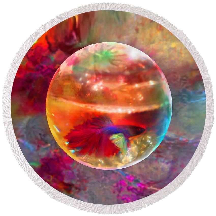Fish Bowl Digital Art Round Beach Towels