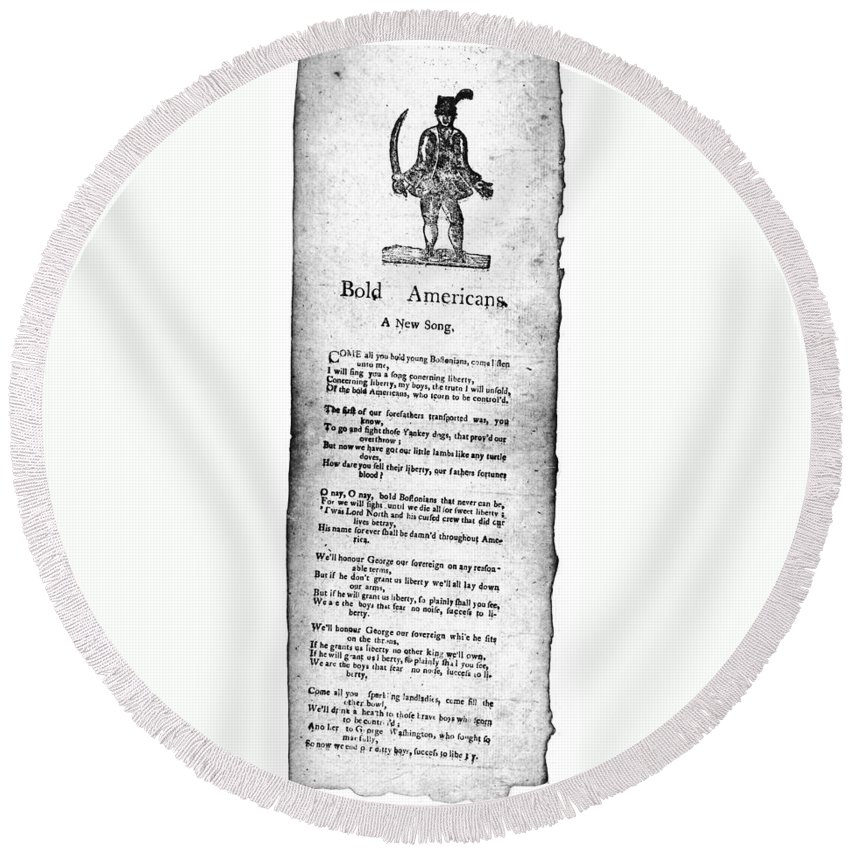 1760s Round Beach Towel featuring the photograph Bold Americans, C1770 by Granger