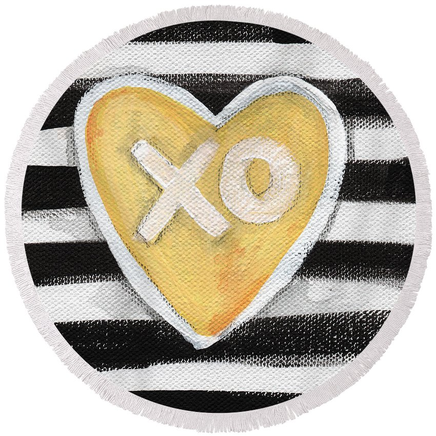 Love Round Beach Towel featuring the painting Bold Love by Linda Woods