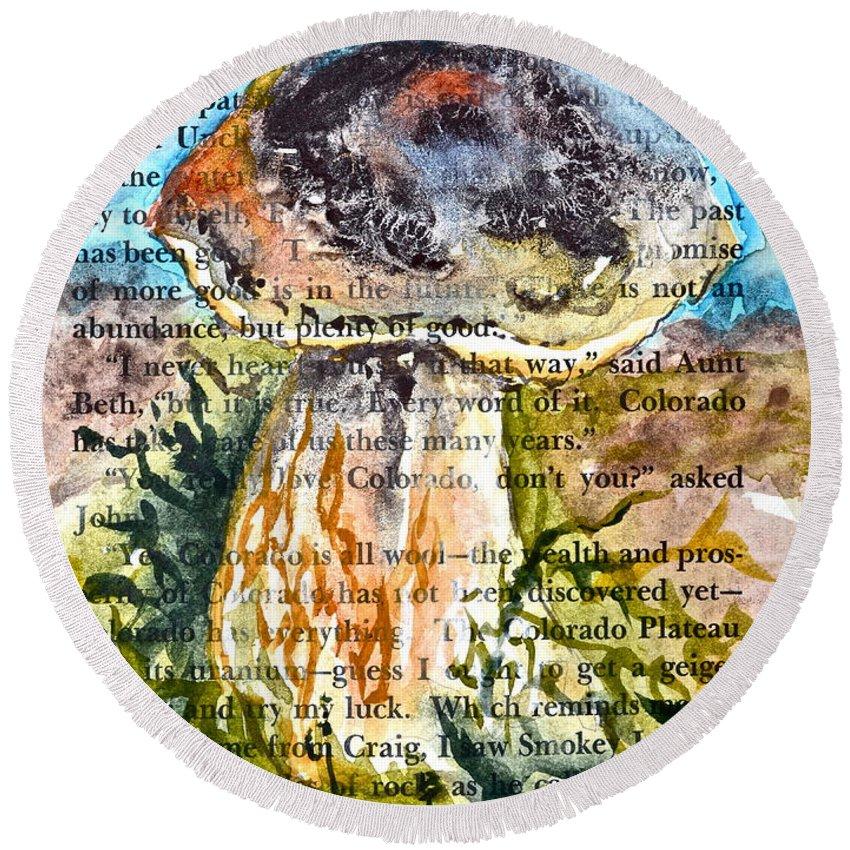 Boletus Edulis Round Beach Towel featuring the painting Boletus Edulis Close Up by Beverley Harper Tinsley