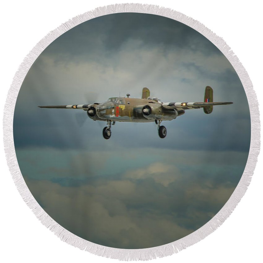 Military Round Beach Towel featuring the photograph Bomber by Nikolai Martusheff