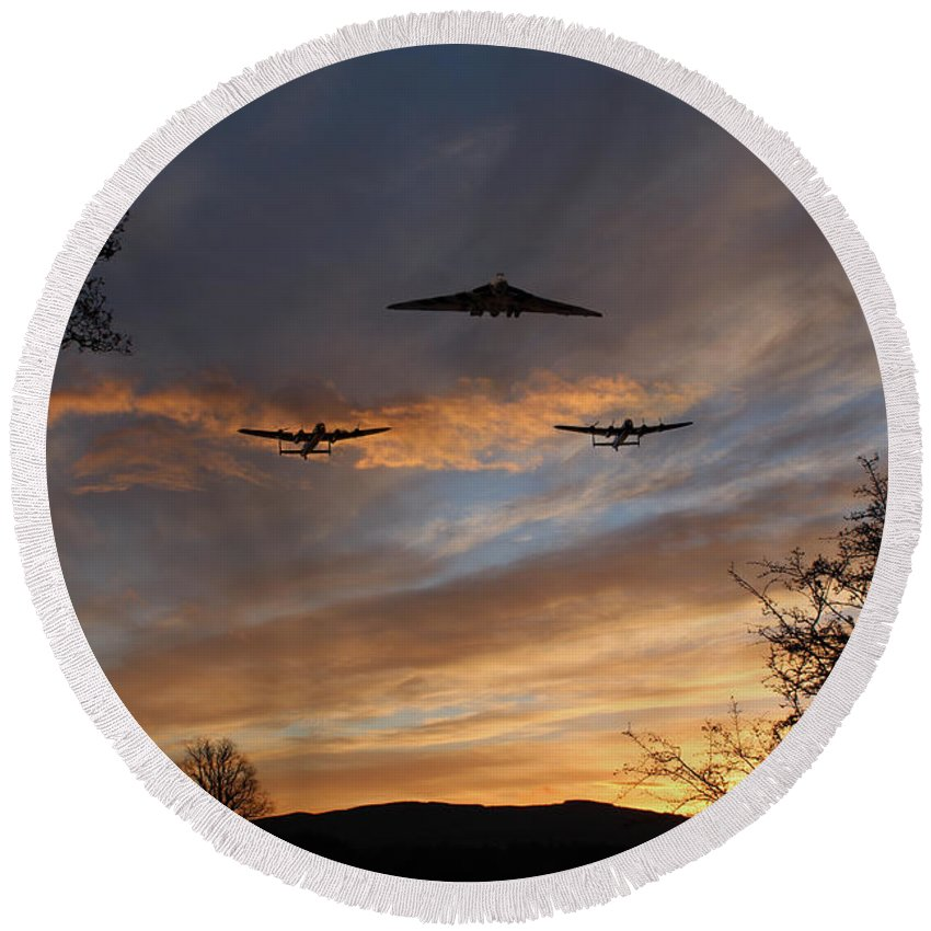 Lancasters And Vulcan Round Beach Towel featuring the digital art Bombers Pass By by J Biggadike