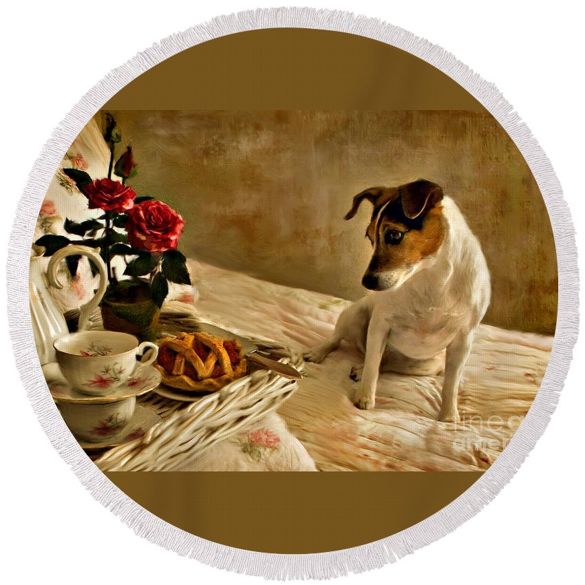Round Beach Towel featuring the photograph Bon Appetit by Jean Hildebrant