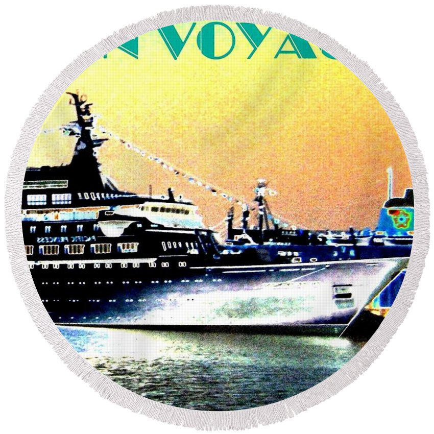 Bon Voyage Round Beach Towel featuring the digital art Bon Voyage by Will Borden