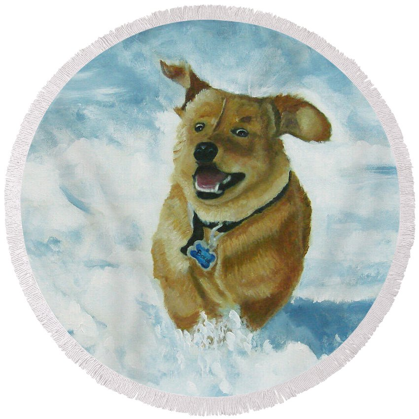 Puppy Round Beach Towel featuring the painting Bongo In The Snow by Frankie Picasso