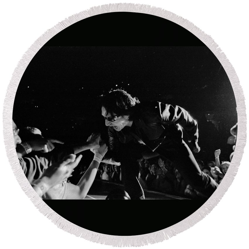 Bono Round Beach Towel featuring the photograph Bono 051 by Timothy Bischoff