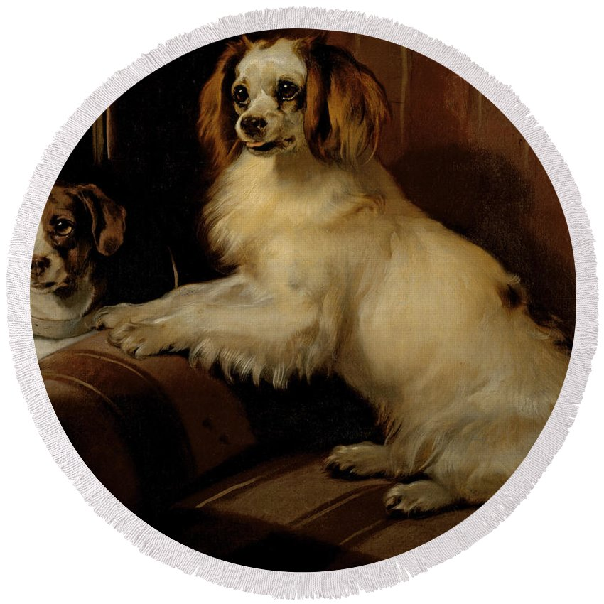 Dog Round Beach Towel featuring the painting Bony And Var by Sir Edwin Landseer