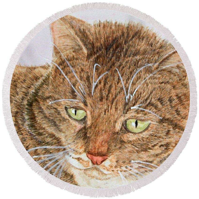 Cats Round Beach Towel featuring the painting Boots by Carol Luzzi