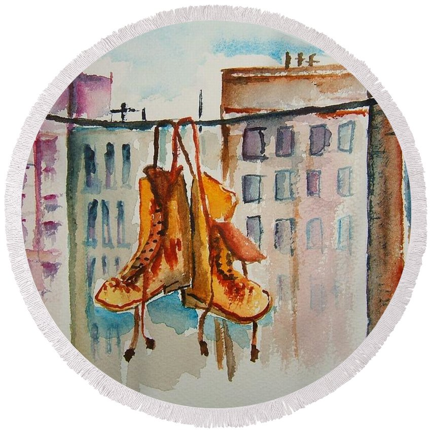 Boots Round Beach Towel featuring the painting Boots On A Wire by Elaine Duras