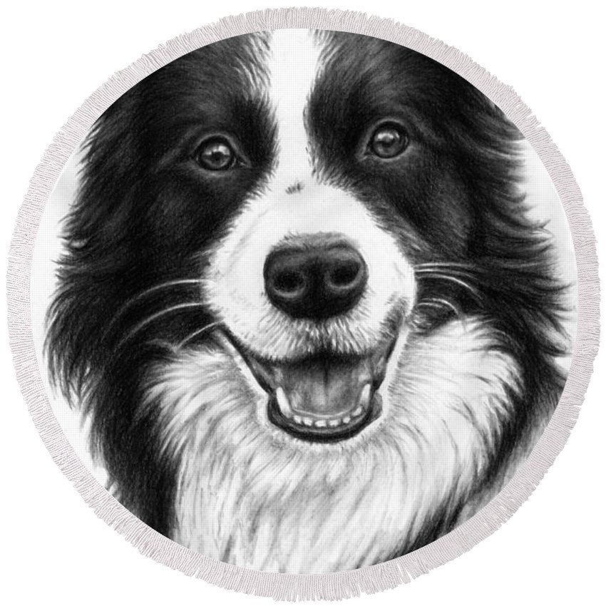 Dog Round Beach Towel featuring the drawing Border Collie by Nicole Zeug