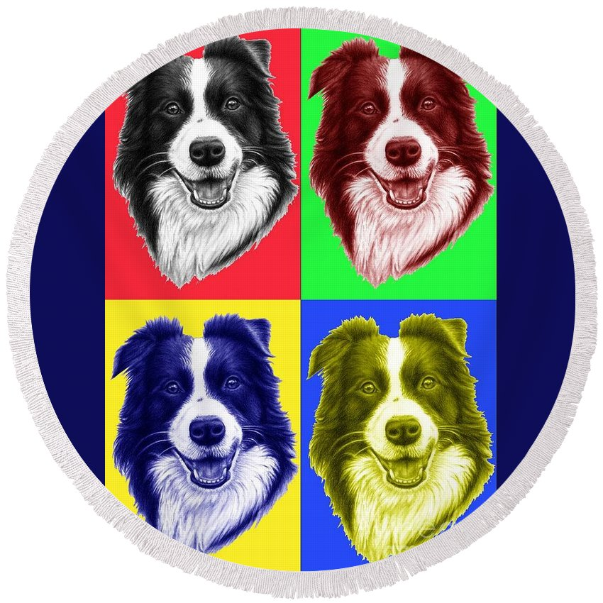 Dogs Round Beach Towel featuring the digital art Border Collie Popart by Nicole Zeug
