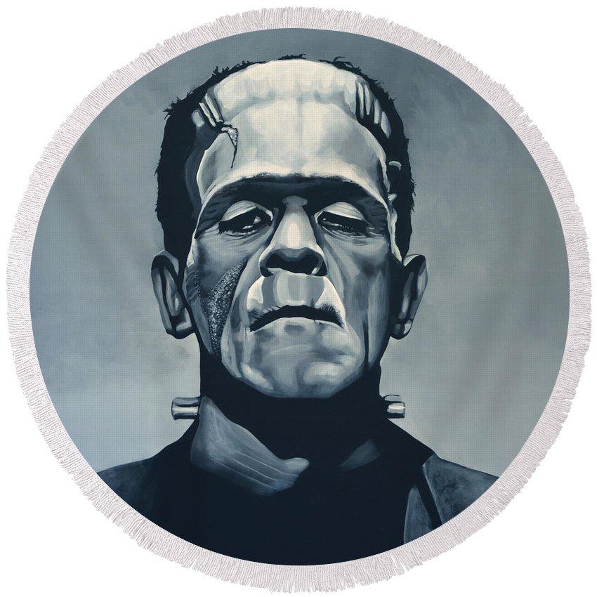 Frankenstein Round Beach Towel featuring the painting Boris Karloff As Frankenstein by Paul Meijering