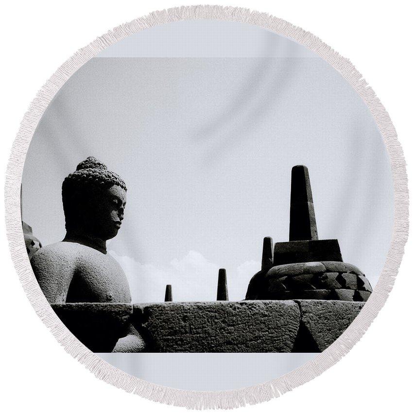 Borobudur Round Beach Towel featuring the photograph The Meditation Of The Buddha by Shaun Higson