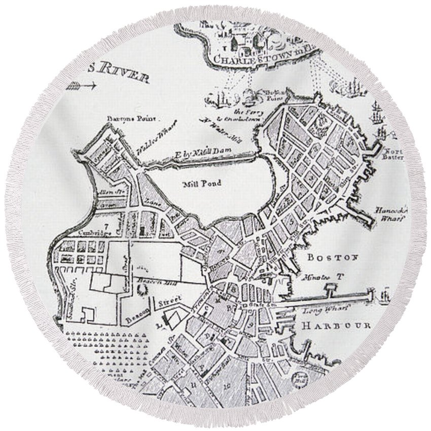 Breed's Hill Round Beach Towel featuring the drawing Boston And Bunker Hill 1781 by American School