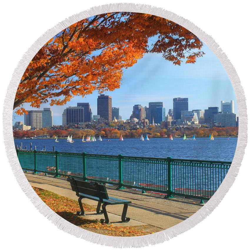 Boston Round Beach Towel featuring the photograph Boston Charles River in Autumn by John Burk