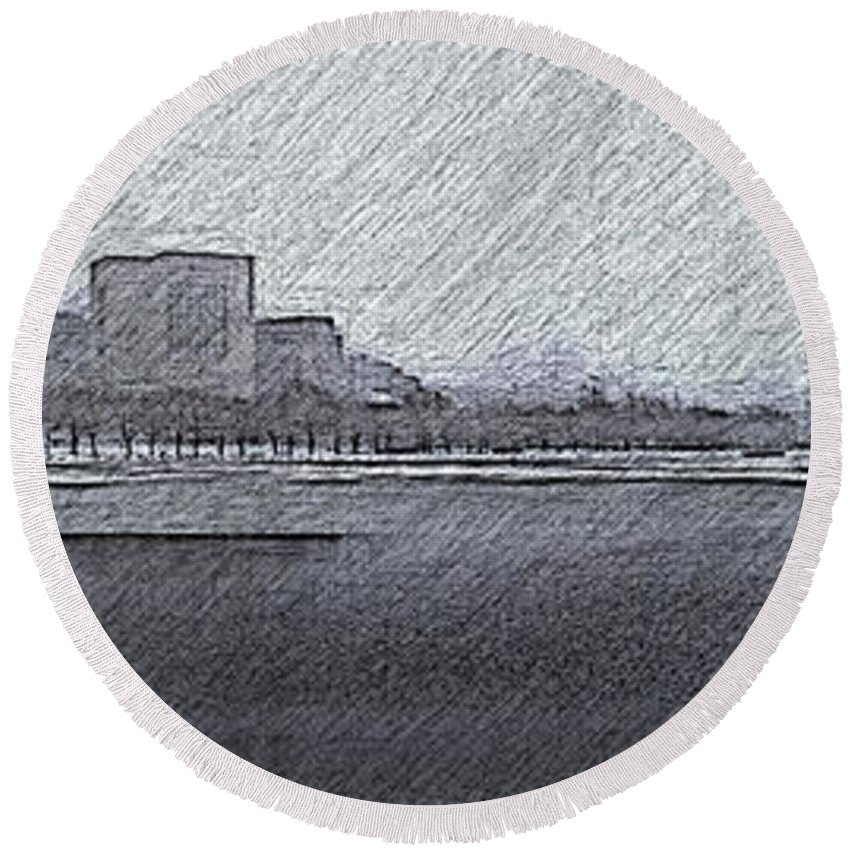 Boston Round Beach Towel featuring the photograph Boston Cityscape by Douglas Barnard