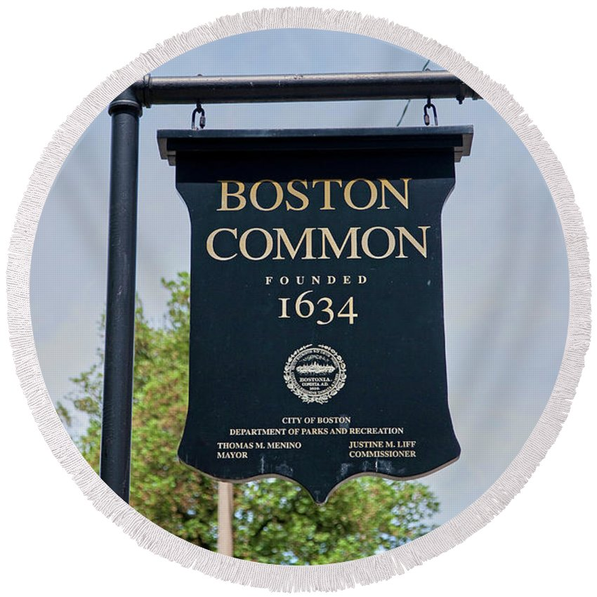 Photography Round Beach Towel featuring the photograph Boston Common Park Sign, Boston, Ma by Panoramic Images