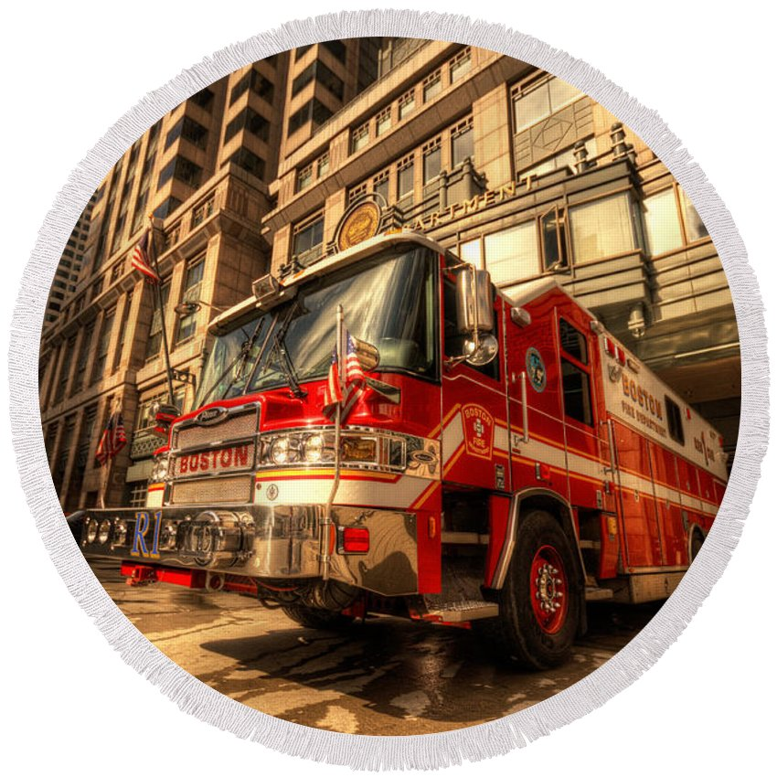 Fire Round Beach Towel featuring the photograph Boston Fire Truck by Rob Hawkins