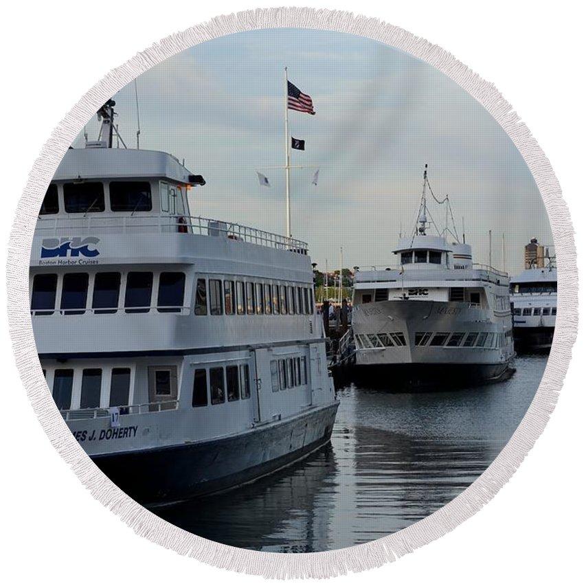 Boston Round Beach Towel featuring the photograph Boston Harbor Cruise Three In A Row by Jatinkumar Thakkar