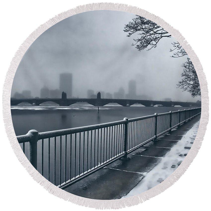 Snow Round Beach Towel featuring the photograph Boston Longfellow Bridge-snow Cityscape by Douglas Barnard