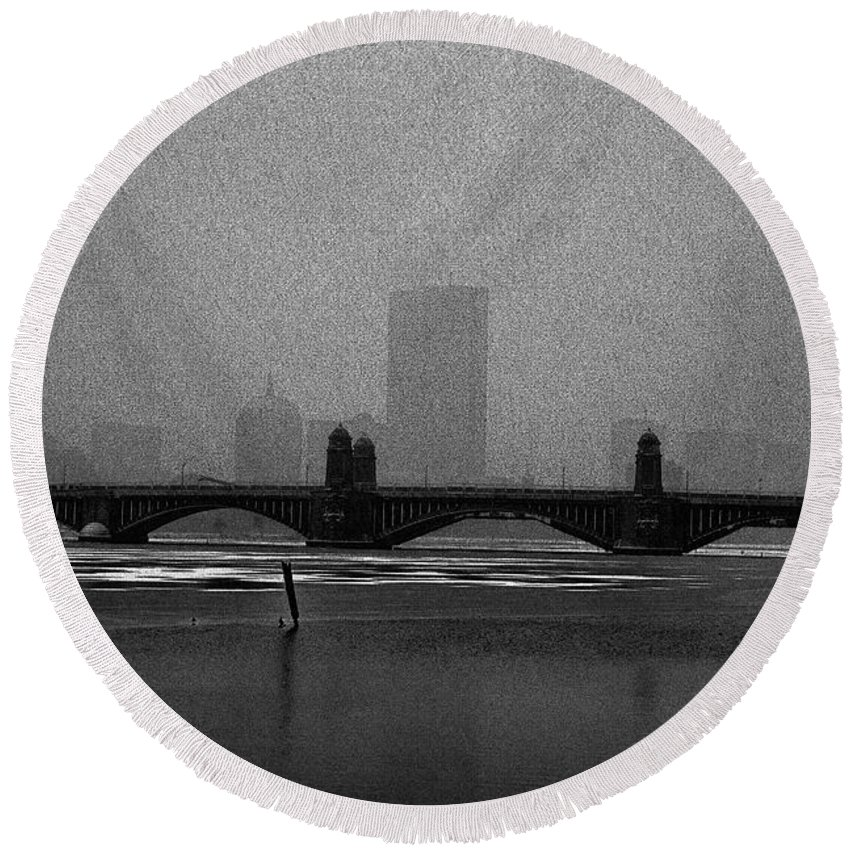 Sketch Round Beach Towel featuring the photograph Boston Longfellow Bridge-snow Cityscape Sketch by Douglas Barnard