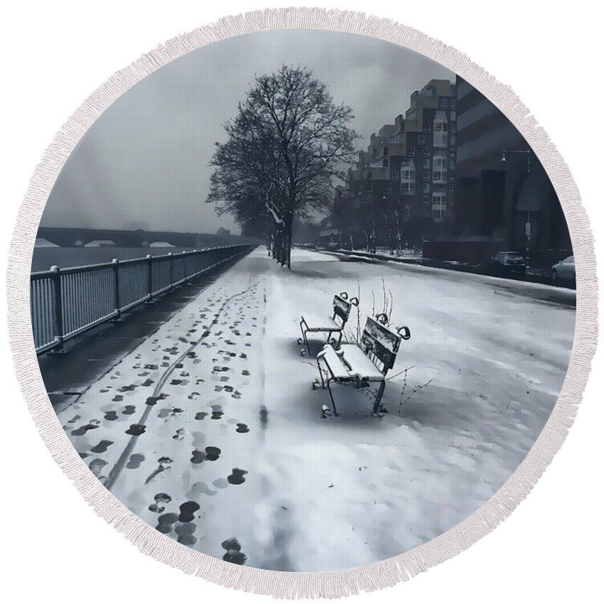 Snow Round Beach Towel featuring the photograph Boston Longfellow Bridge-snow Cityscape V2 by Douglas Barnard