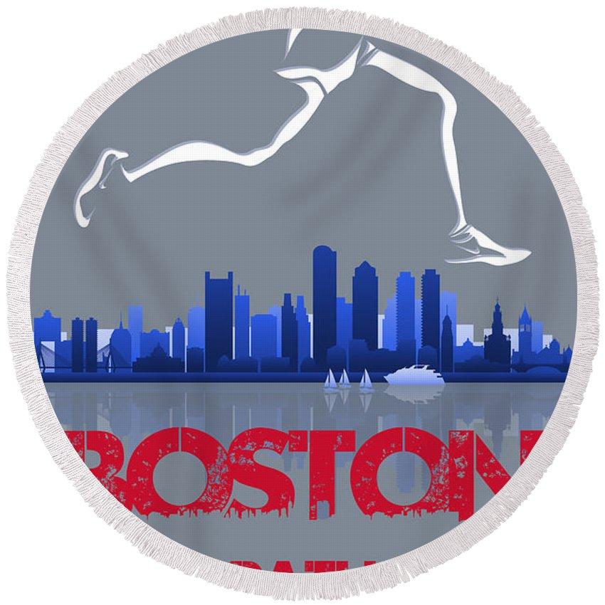 Runner Round Beach Towel featuring the photograph Boston Marathon3 by Joe Hamilton