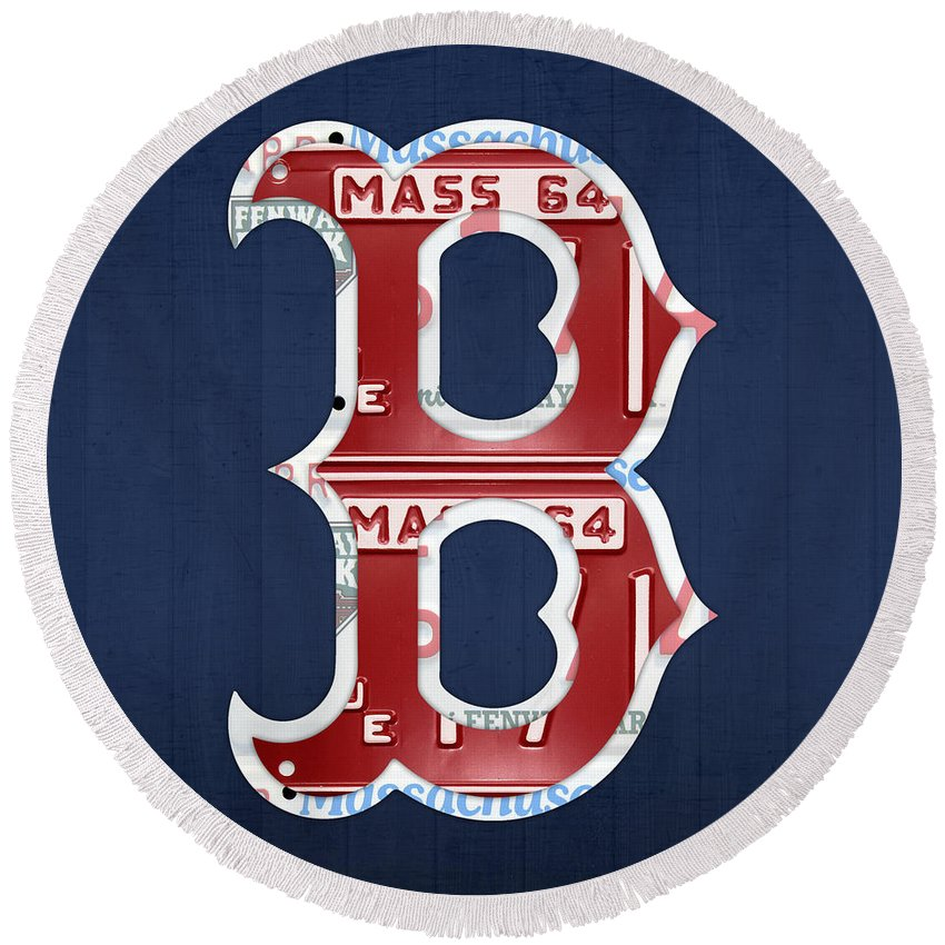 boston red sox logo letter b baseball team vintage license plate art