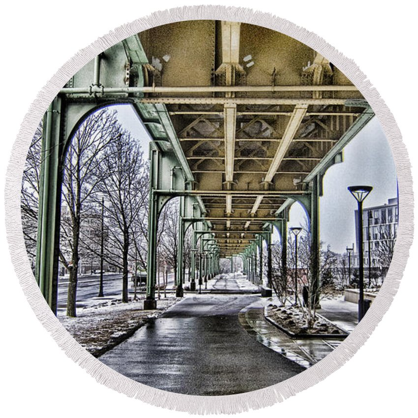 Boston Round Beach Towel featuring the photograph Boston Streetcar Overpass-cambridge V2 by Douglas Barnard