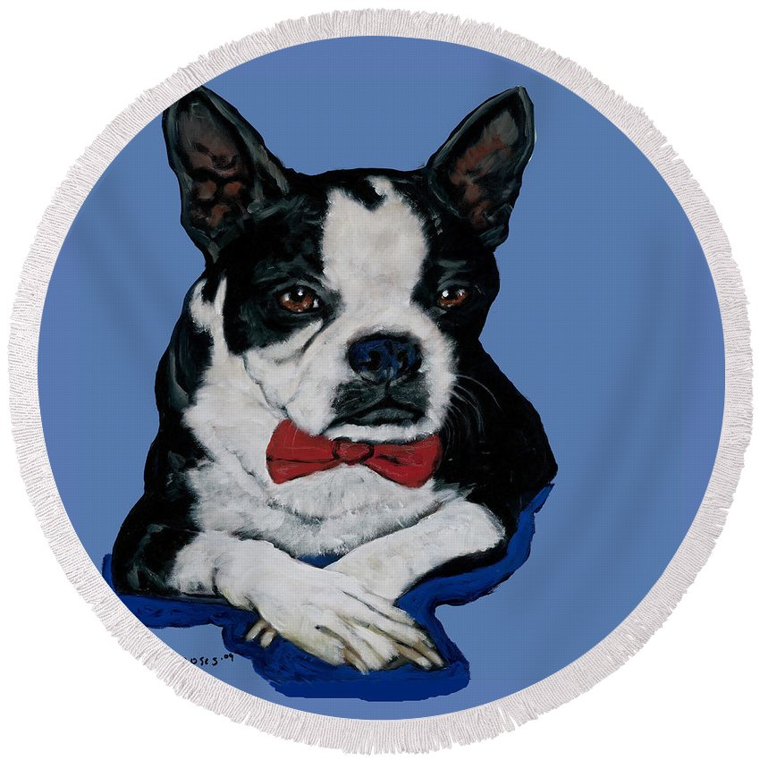 Boston Round Beach Towel featuring the painting Boston Terrier With A Bowtie by Dale Moses